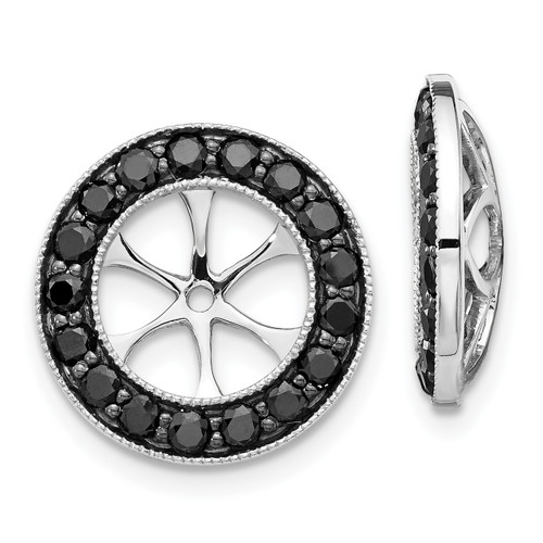 Lex & Lu 14k White Gold Black Diamond Earring Jackets LAL790-Lex & Lu