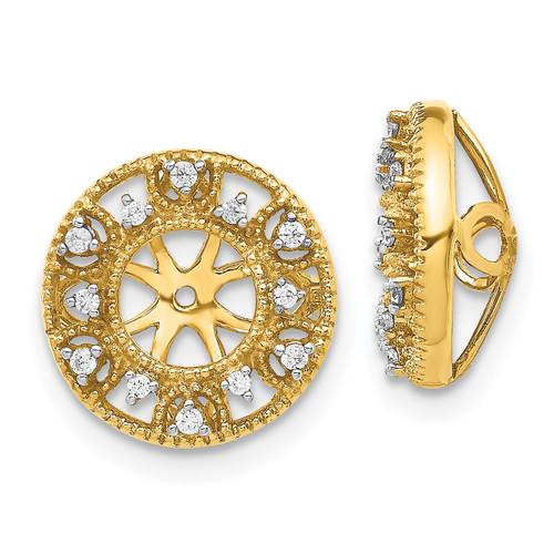 Lex & Lu 14k Yellow Gold Diamond Earring Jackets LAL792-Lex & Lu
