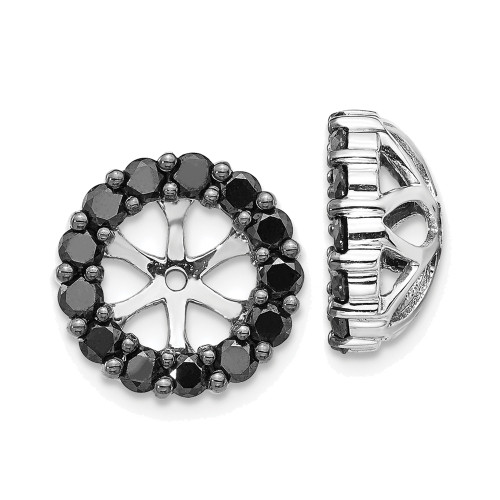 Lex & Lu 14k White Gold Black Diamond Earring Jackets LAL803-Lex & Lu