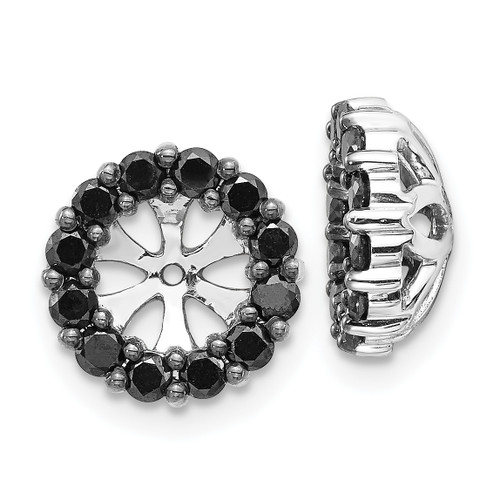 Lex & Lu 14k White Gold Black Diamond Earring Jackets LAL811-Lex & Lu
