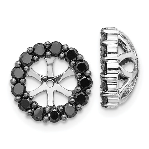Lex & Lu 14k White Gold Black Diamond Earring Jackets LAL812-Lex & Lu