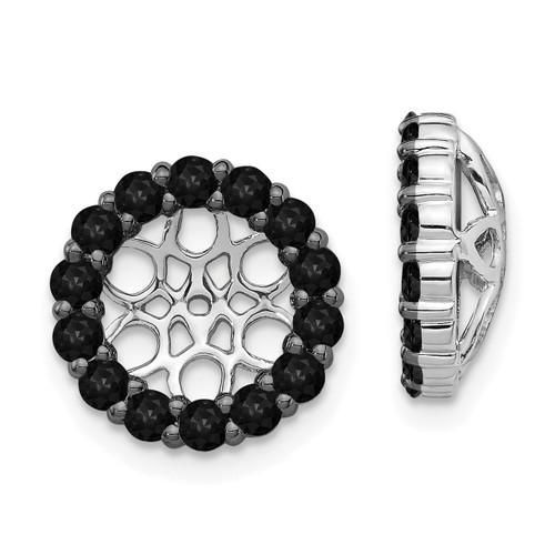 Lex & Lu 14k White Gold Black Diamond Earring Jackets LAL814-Lex & Lu