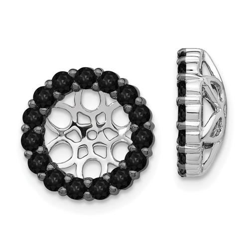 Lex & Lu 14k White Gold Black Diamond Earring Jackets LAL816-Lex & Lu