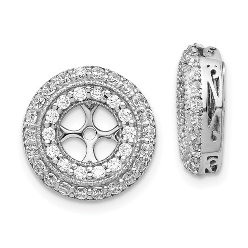 Lex & Lu 14k White Gold Diamond Earring Jackets LAL818-Lex & Lu