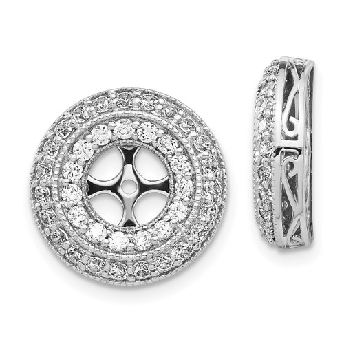 Lex & Lu 14k White Gold Diamond Earring Jackets LAL819-Lex & Lu
