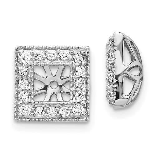 Lex & Lu 14k White Gold Diamond Square Jackets Earrings LAL823-Lex & Lu