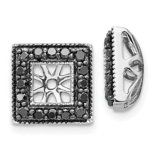 Lex & Lu 14k White Gold Black Diamond Square Jackets Earrings LAL826-Lex & Lu