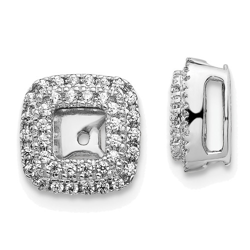 Lex & Lu 14k White Gold Diamond Square Earring Jackets-Lex & Lu