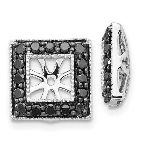 Lex & Lu 14k White Gold Black Diamond Square Jackets Earrings LAL831-Lex & Lu