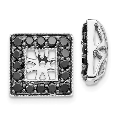 Lex & Lu 14k White Gold Black Diamond Square Jackets Earrings LAL832-Lex & Lu
