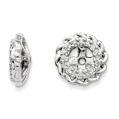 Lex & Lu 14k White Gold Diamond Earring Jackets LAL836-Lex & Lu