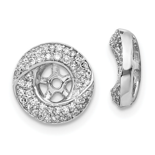 Lex & Lu 14k White Gold Diamond Round Earring Jackets LAL838-Lex & Lu