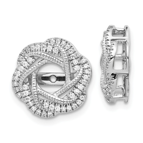 Lex & Lu 14k White Gold Diamond Jackets Earring LAL841-Lex & Lu