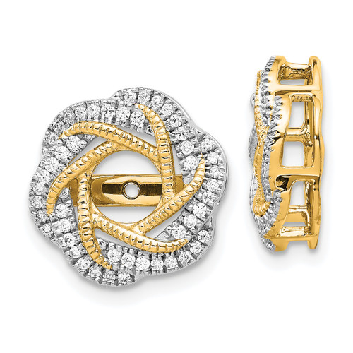 Lex & Lu 14k Yellow Gold Diamond Jackets Earring LAL842-Lex & Lu