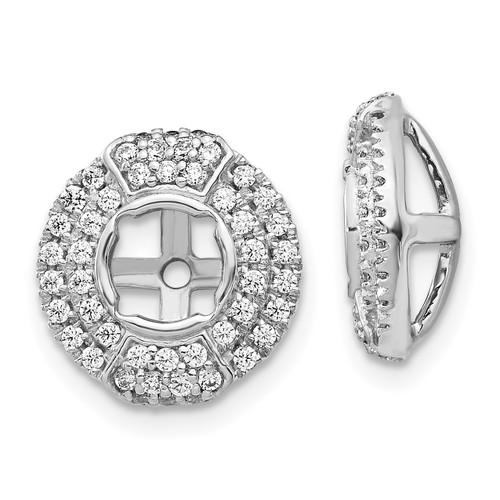 Lex & Lu 14k White Gold Diamond Round Earring Jackets LAL849-Lex & Lu