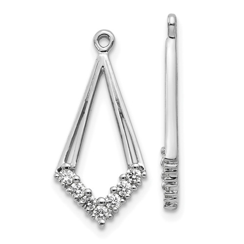Lex & Lu 14k White Gold AA Diamond Earring Jackets LAL866-Lex & Lu