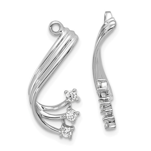 Lex & Lu 14k White Gold AA Diamond Earring Jackets LAL877-Lex & Lu