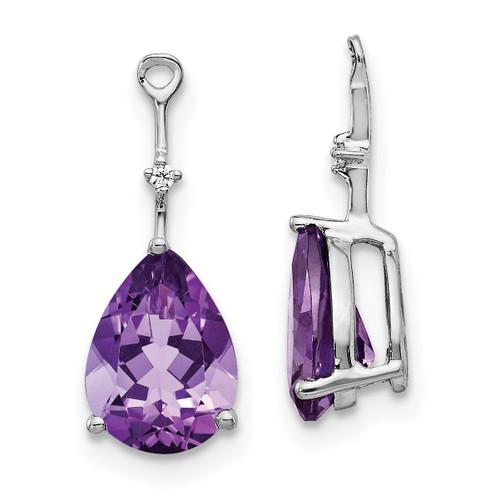 Lex & Lu 14k White Gold Diamond & Amethyst Earring Jackets-Lex & Lu