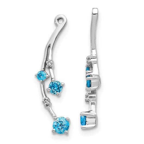 Lex & Lu 14k White Gold Diamond & Blue Topaz Earring Jackets-Lex & Lu