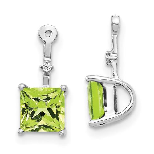 Lex & Lu 14k White Gold Diamond & Peridot Earring Jackets-Lex & Lu