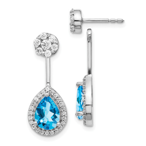 Lex & Lu 14k White Gold Diamond & Blue Topaz Earrings LAL1443-Lex & Lu