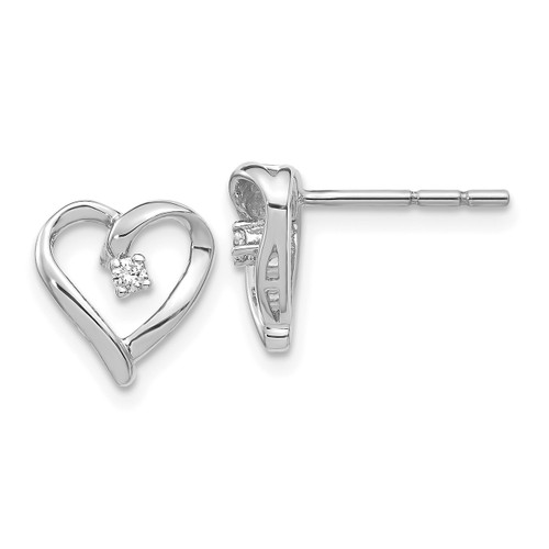 Lex & Lu 14k White Gold AA Diamond Heart Earrings LAL1973-Lex & Lu