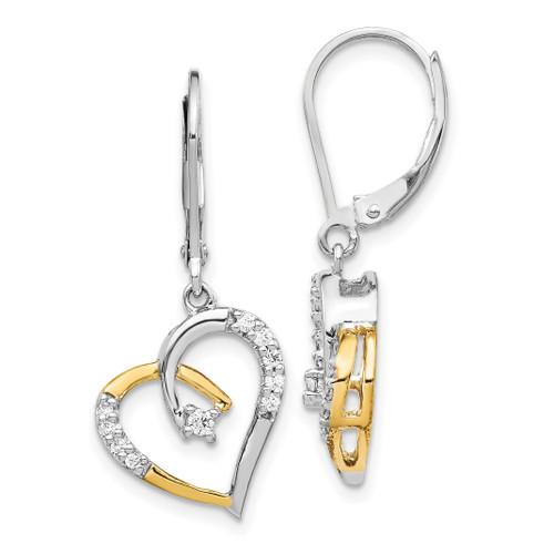 Lex & Lu 14k Yellow & White Gold Diamond Heart Leverback Earrings - Lex & Lu