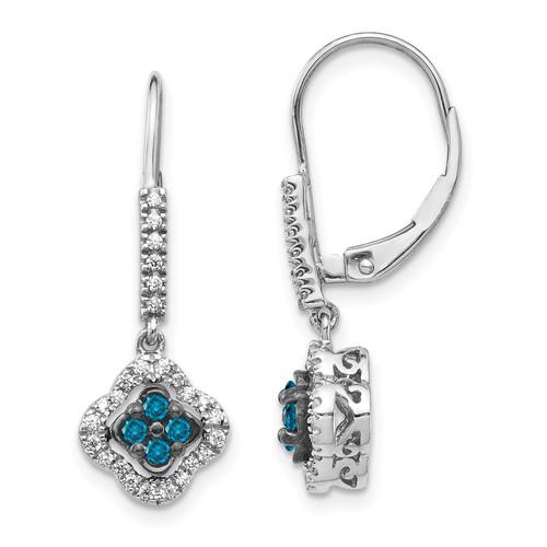 Lex & Lu 14k White Gold White & Blue Diamond Dangle Leverback Earrings - Lex & Lu