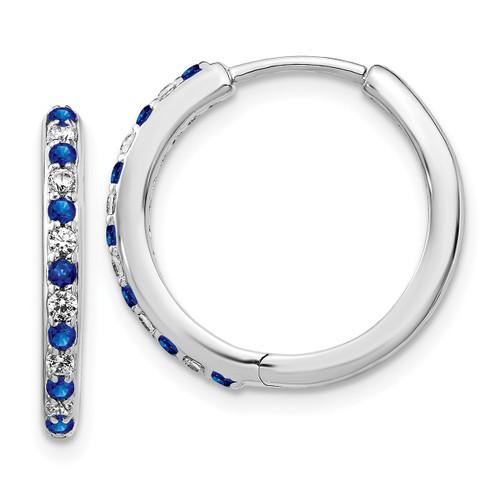 Lex & Lu 14k White Gold Diamond & Sapphire Hinged Hoop Earrings-Lex & Lu