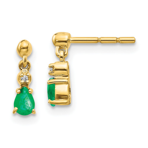 Lex & Lu 14k Yellow Gold Emerald & Diamond Dangle Earrings - Lex & Lu