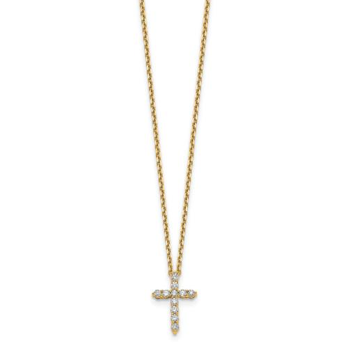 Lex & Lu 14k Yellow Gold Cross Pendant w/Chain Necklace LAL2563-Lex & Lu