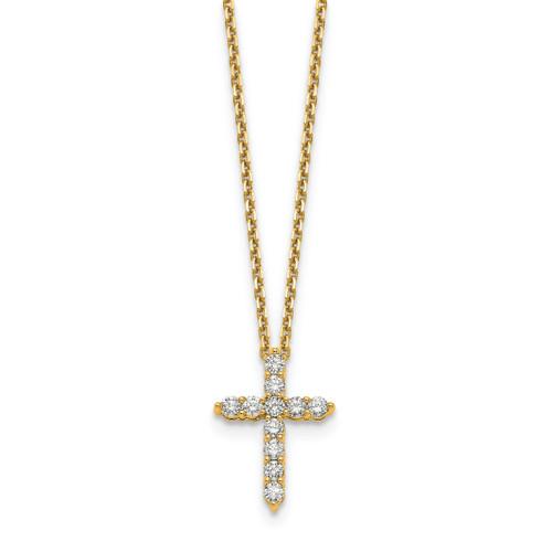 Lex & Lu 14k Yellow Gold Cross Pendant w/Chain Necklace LAL2566-Lex & Lu
