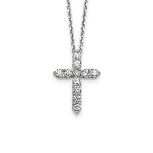 Lex & Lu 14k White Gold Cross Pendant w/Chain Necklace LAL2567 - Lex & Lu
