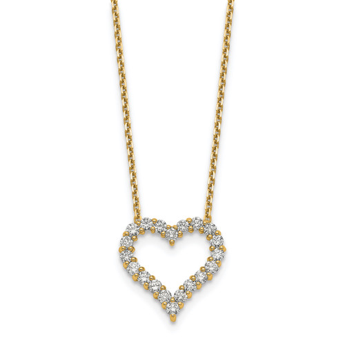Lex & Lu 14k Yellow Gold Heart Pendant w/Chain Necklace LAL2576 - Lex & Lu
