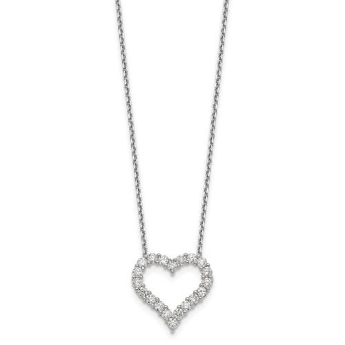 Lex & Lu 14k White Gold Heart Pendant w/Chain Necklace LAL2578 - Lex & Lu