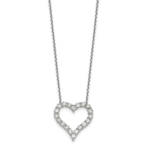 Lex & Lu 14k White Gold Heart Pendant w/Chain Necklace LAL2582-Lex & Lu