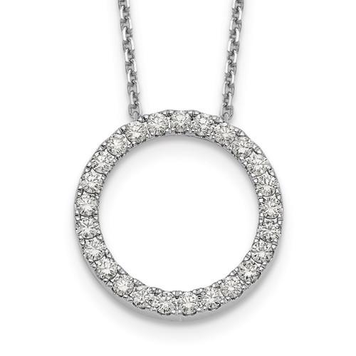 Lex & Lu 14k White Gold Circle Pendant w/Chain Necklace LAL2589 - Lex & Lu