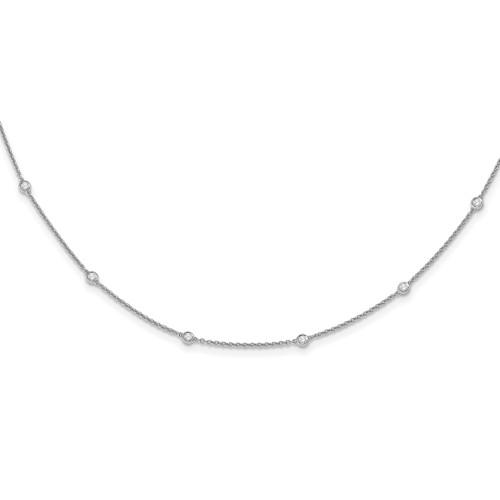 Lex & Lu 14k White Gold Diamond Rolo Necklace LAL2623-Lex & Lu