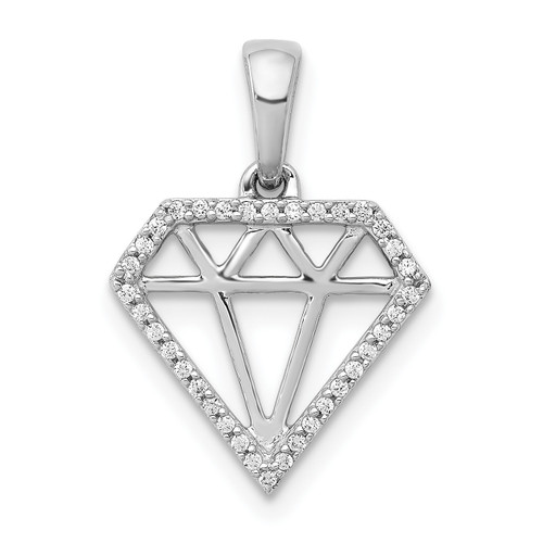 Lex & Lu 14k White Gold Diamond Diamond Shape Pendant-Lex & Lu