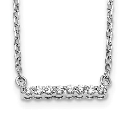 Lex & Lu 14k White Gold Diamond Bar Necklace LAL2665 - Lex & Lu