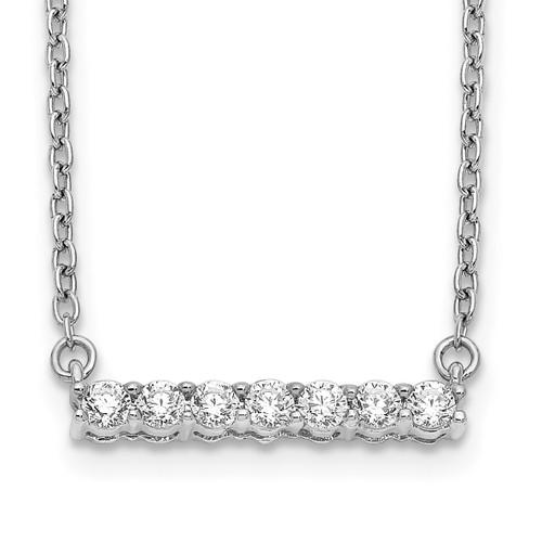 Lex & Lu 14k White Gold Diamond Bar Necklace LAL2666 - Lex & Lu