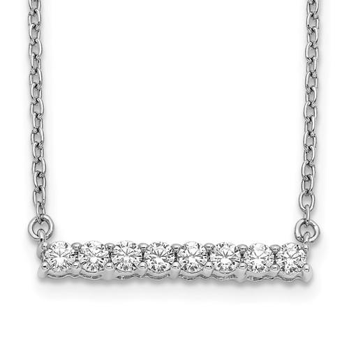Lex & Lu 14k White Gold Diamond Bar Necklace LAL2667 - Lex & Lu