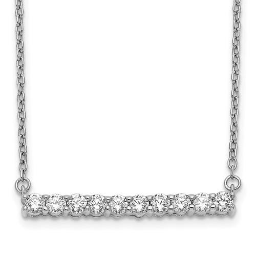 Lex & Lu 14k White Gold Diamond Bar Necklace LAL2668 - Lex & Lu