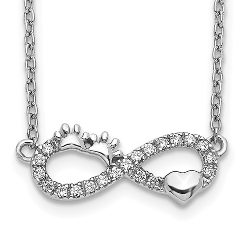 Lex & Lu 14k White Gold Diamond Infinity Pawprint/Heart Necklace - Lex & Lu