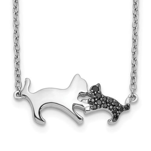 Lex & Lu 14k White Gold Black Diamond Mother & Baby Cat Necklace LAL2721 - Lex & Lu