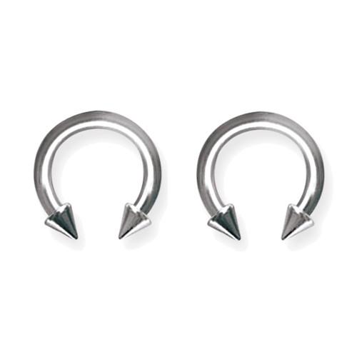 """Lex & Lu Pair of Titanium Circular Barbells 10 Gauge 1/2"""" Dia w/5mm Cones Uncolored-Lex & Lu"""