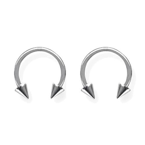 """Lex & Lu Pair of Titanium Circular Barbells 14 Gauge 3/8"""" Dia w/4mm Cones Uncolored-Lex & Lu"""