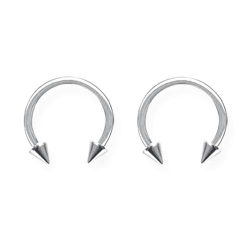 """Lex & Lu Pair of Titanium Circular Barbells 14 Gauge 7/16"""" Dia w/4mm Cones Uncolored-Lex & Lu"""