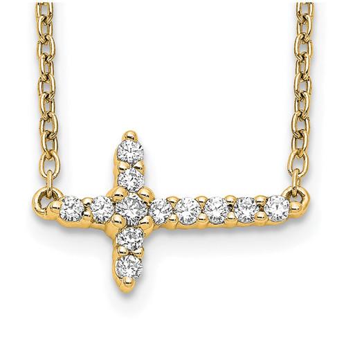 Lex & Lu 14k Yellow Gold Diamond Cross 18'' Necklace LAL3423 - Lex & Lu