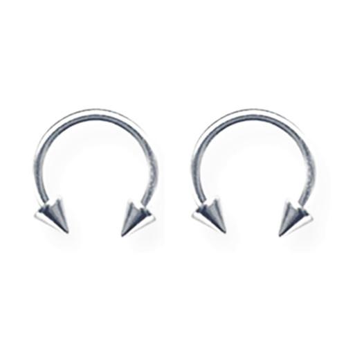 """Lex & Lu Pair of Titanium Circular Barbells 18 Gauge 5/16"""" Dia w/3mm Cones Uncolored-Lex & Lu"""